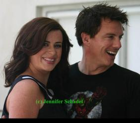 "Eve Myles and John Barrowman of ""Torchwood: Miracle Day"""