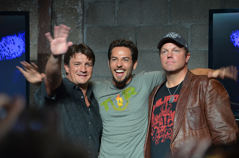 Nathan Fillion, Zac Levi, Adam Baldwin (photo credit: Genevieve Collins)