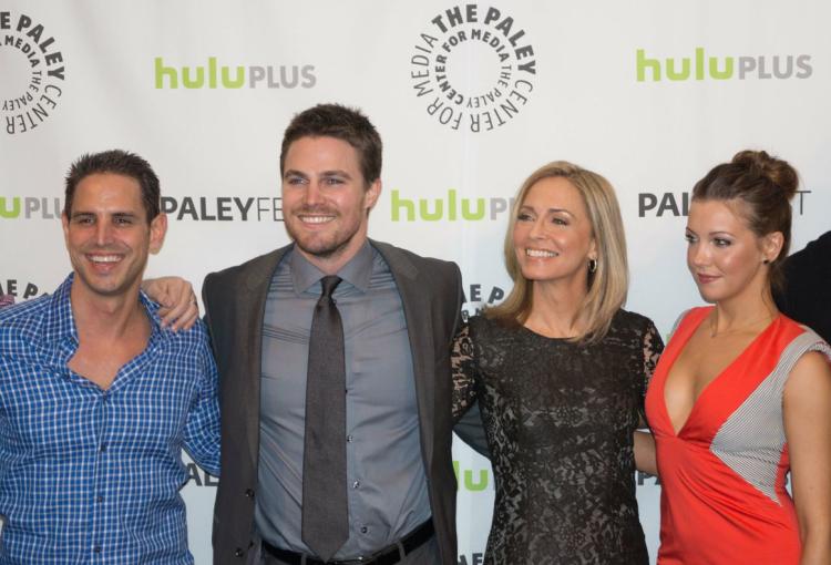 Executive producer Greg Berlanti, Stephen Amell, Susanna Thompson, Katie Cassidy (photo credit: Courtney Vaudreuil)