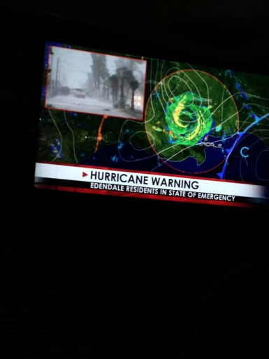 Hurricane warning from Episode 10  (photo credit: Tiffany Vogt)