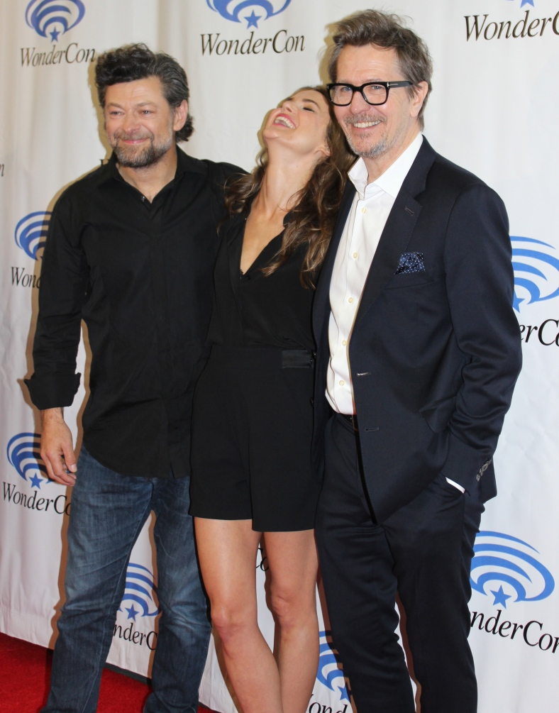 "Andy Serkis, Keri Russell, Gary Oldman of ""Rise of The Planet of the Apes""  (photo credit: Jennifer Schadel)"