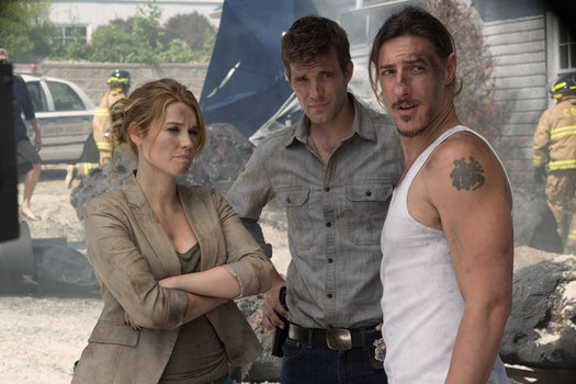 "HAVEN -- ""The Trouble With the Troubles"" Episode 410 -- Pictured: (l-r) Emily Rose as Audrey Parker, Lucas Bryant as Nathan Wuornos, Eric Balfour as Duke Crocker -- (Photo by: Michael Tompkins/Syfy)"